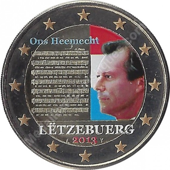LUXEMBOURG - 2 Euros commémorative Couleurs - Hymne National 2013